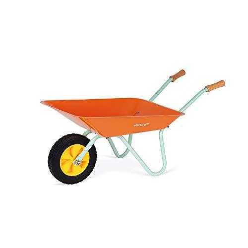 Janod J03194 Happy Garden Metal Wheelbarrow, Orange/Blue