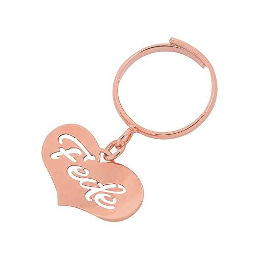 Remo Gammella Anillo de mujer personalizado de plata 925 bañada en oro blanco, amarillo o rosa con corazón colgante. Anillo para nombre. Joya hecha a mano en Italia. Tamaño ajustable.