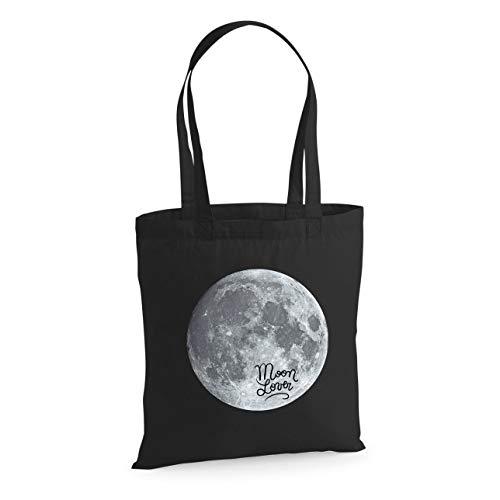 Designer Souvenirs   Bolsa de Tela para Mujer y Hombre   Bolso Tote 100% Algodón y Asas Resistentes   Diseño para los Amantes de la Luna   para Hacer la Compra o para Diario   Colección Cosmic Lovers