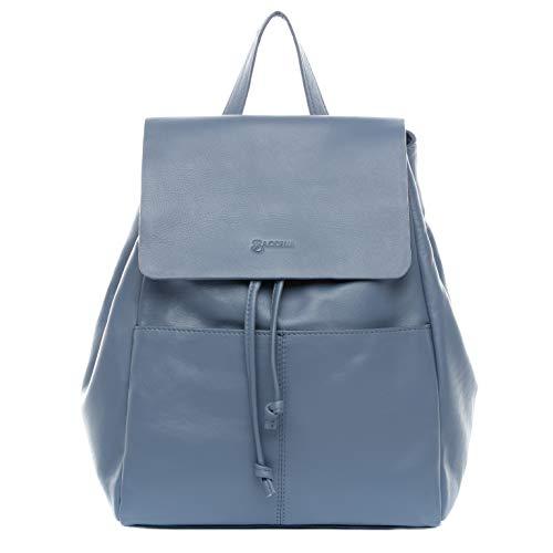 BACCINI® Zaino vera pelle MARTHA borsa a spalla borsa a zainetto backpack donna cuoio blu