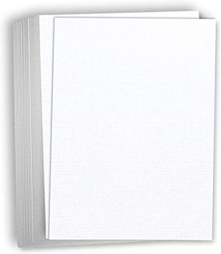Hamilco White Resume Linen Textured Cardstock Paper – 8 1/2 x 11' Blank Thick Heavy Weight 80 lb Cover Card Stock for Printer - 50 Pack (Bright White)