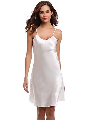 Aibrou Damen Sexy Negligee Nachthemd Satin Nachtkleid Nachtwäsche Unterwäsche Sleepwear Kurz Trägerkleid V Ausschnitt Weiß XXXL