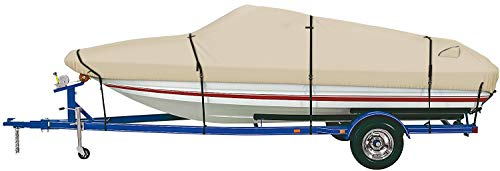 iCOVER Trailerable Boat Cover- 600D Water Proof Heavy Duty,Fits V-Hull,Fish&Ski,Pro-Style,Fishing Boat,Utiltiy Boats, Runabout,Bass Boat,up to 17ft-19ft Long and 96