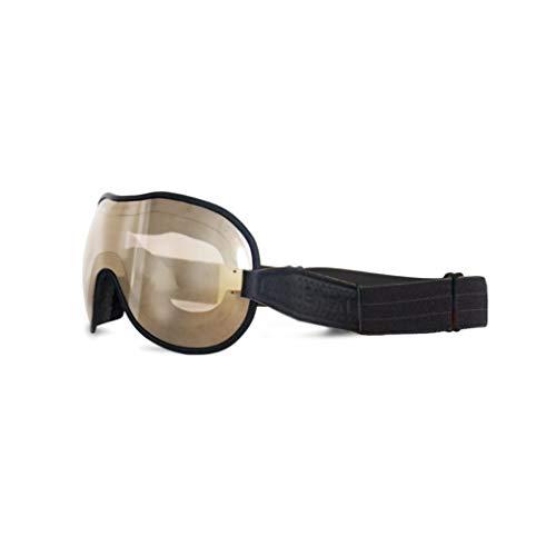 Ethen (Cafè Racer Vintage für Motorräder und Motocross Brille, Objektiv mit S2 Filter und verspiegelten Spiegeln mit braunem Effekt, Anti-UV Austauschbar Elastisch Schwarz/Grau, Made in Italy
