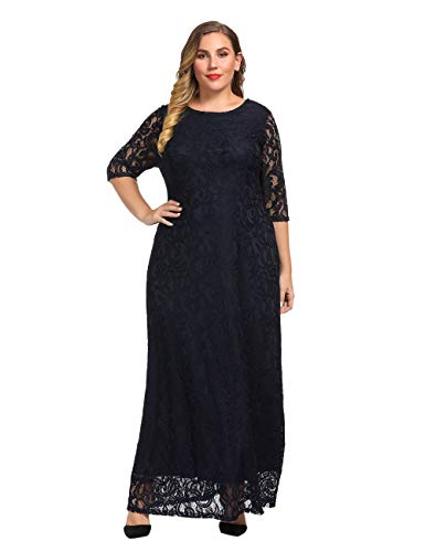 Chicwe Women's Plus Size Stretch Lace Maxi Dress - Evening Wedding Cocktail Party Dress Navy 4X