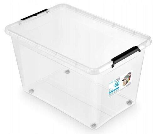 Orplast Aufbewahrungsbox Lagerbox Rollerbox Box Behälter transparent 60L mit Deckel & Rollen