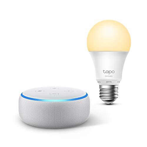 Echo Dot (3ª generazione), Tessuto grigio chiaro + TP-Link Tapo Lampadina Smart (E27), compatibile con Alexa