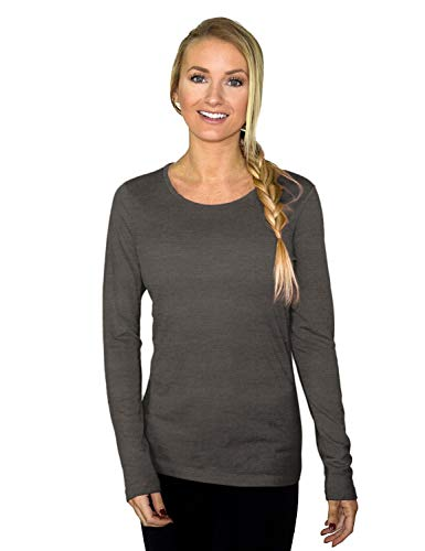 Woolx Women's Remi Lightweight & Breathable Merino Wool Long Sleeve Tee, Graphite Heather, Large