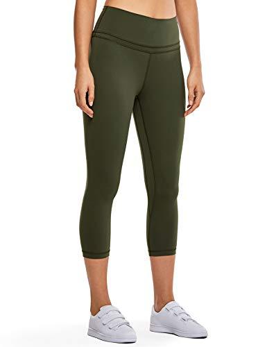 CRZ YOGA CRZ YOGA Damen Yoga Capri Leggings Sport Hose mit Hoher Taille-Nackte Empfindung -48cm Dunkle Olive 19'' - R418 38