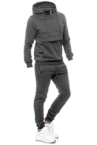 EGOMAXX Kinder Trainingsanzug Zweiteiler für Jungen Sport Jogginganzug Hoodie mit Jogginghose, Farben:Dunkelgrau, Größe Kinder:116