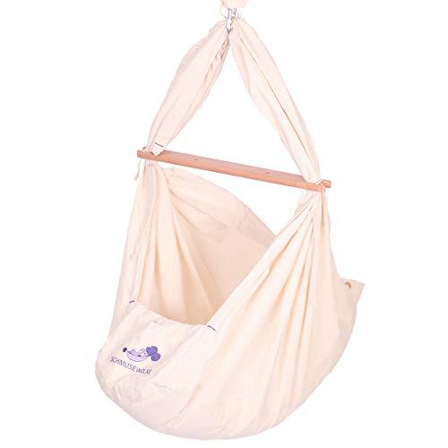 SCHMUSEWOLKE Federwiege Babyhängematte Babywiege Reisebett | BIO-Baumwolle mit Schafwollmatratze | Ab der Geburt bis 3 Jahre | bis 18 kg | 3 Sets Deckenbefestigung
