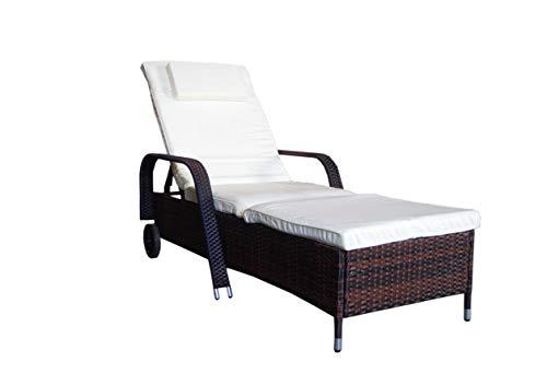 MK Outdoor Rattanliege Lounger Deluxe-B, belastbar bis 165 kg, inklusive Bequeme abwaschbarer Auflage und Kopfkissen, braun, Gartenliege, Relaxliege, Liegestuhl, Sonnenliege, Rattanmöbel Outdoor