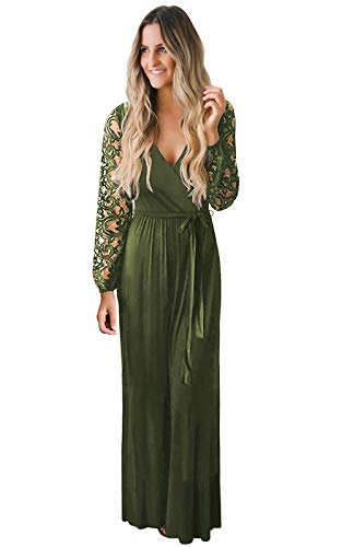 Zattcas Women Fall Casual Faux Wrap V Neck Vintage Floral Lace Long Sleeve Maxi Dress Army Green Small (Apparel)