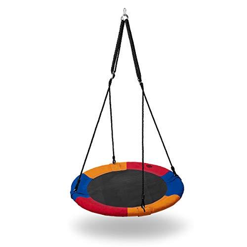 Nils Nestschaukel 90cm | Robust Garten-Schaukel bis 150kg belastbar | Tellerschaukel für Kinder und Erwachsene | Wetterfest Schaukel Outdoor (Blau-Orange-Rot)