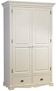 ACTUAL DIFFUSION Windsor Armoire Penderie Blanche 2 Portes de Style Anglais, pin, Blanc, 54x114,5x195 cm