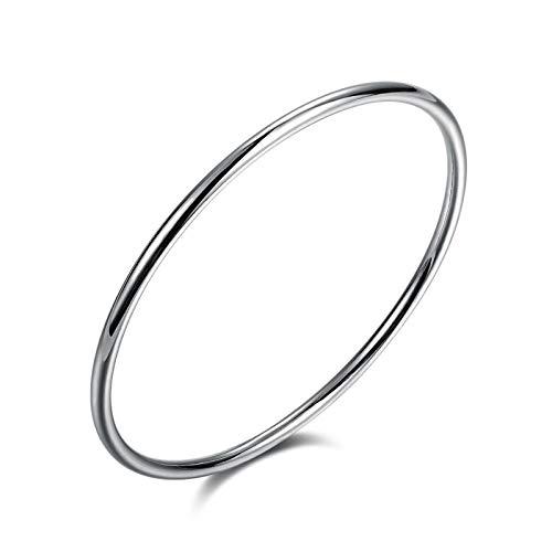 LOXBEE Joyas de plata de ley 925 3 mm redondas pulseras de regalo para hombre y mujer