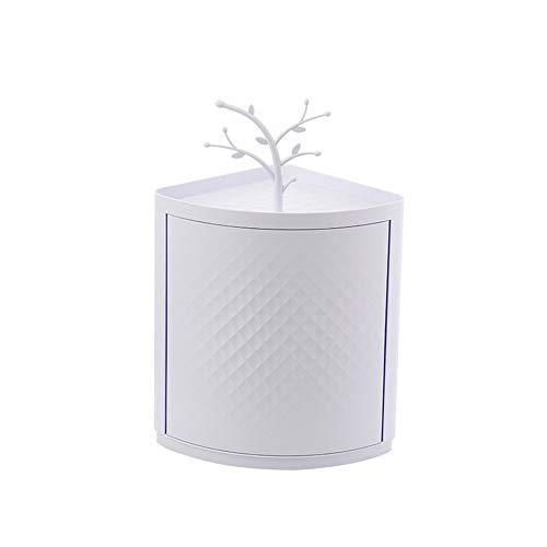 NBLYW 360 roterende hoek opslag Rack, muur ponsen roterende badkamer plank voor hoek make-up, cosmetica, effectief voorkomen stof