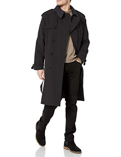 London Fog Mens Iconic Double Breasted Trench Coat with Zip-Out Liner and Removable Top Collar, Black, 44