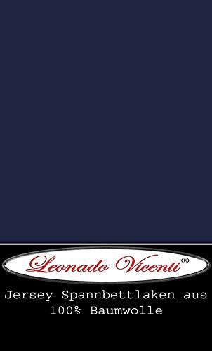 Leonado Vicent - Classic Spannbettlaken Bettlaken 100% Baumwolle Jersey Spannbetttuch in vielen Farben & Größen MARKENQUALITÄT ÖKO TEX Standard 100 (120 x 200 cm - 130 x 200 cm, Dunkelblau)