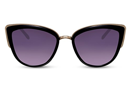 Cheapass Damen-Sonnenbrille Cat-Eye Schwarz Oversized XXL Groß-e Brille UV-400 Designer-Accessoire Frauen