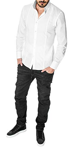 MODERNO Mens High Collar Dress Shirt – Slim Fit, Long Sleeve, Button Down (MSSF501) White US S