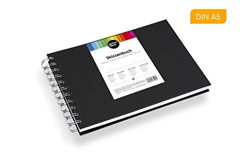 perfect ideaz DIN-A5 Skizzen-Buch 96 Seiten (48 Blatt), professioneller Zeichen-Block, Hard-Cover in schwarz, Spiral-Ring-Buch, blanko Papier in Weiß, 200g /qm, leeres Sketch & Black-Book zum Zeichnen