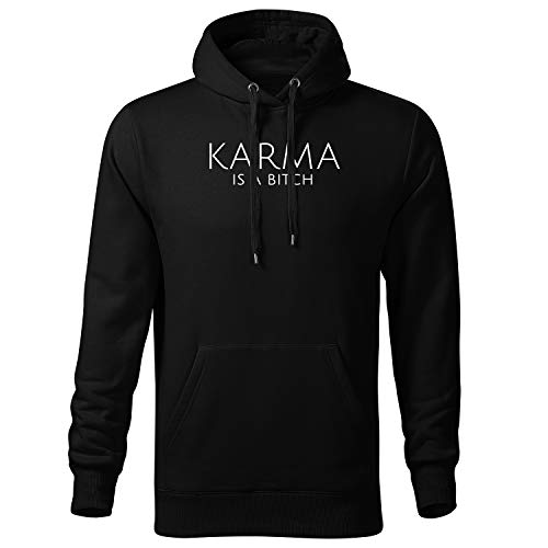 Karma is a Bitch Hoodie Herren mit Aufdruck Zip Pullover Male (425 Scape Schwarz L)