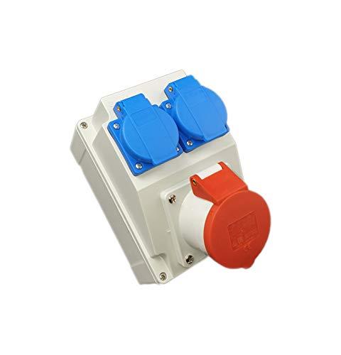 Kombi Wandsteckdose 16A 5P mit 2x Schuko 230V Bals. CEE und Steckdose Schuko in einem Gehäuse. Doppelsteckdose für Outdoor-Bereich & Baustelle, Werkstätten und Fabriken. IP44