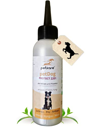 Peticare Spezial-Pflege für Hunde bei Juckreiz, Milben, Gras-Milben, Flöhe - Effektiv bei starkem Jucken, Scheuern und Kratzen, pflegt die Hunde-Haut, petDog Protect 2101-2201