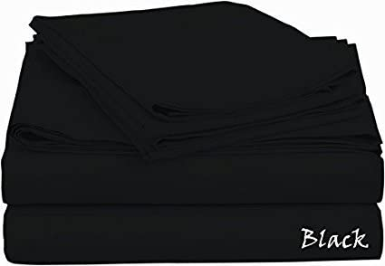 Prince Bedding Solid Black Queen Size 4 Piece Bed Sheet Set 700 Thread Count 100% Egyptian Cotton 18 Inch Deep Pocket Sateen Weave Premium Quality Bedding Set by Prince Bedding