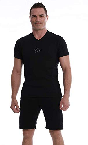Kutting Weight Sauna Shirt - Body Training Clothing - Fat Burner Short Sleeve Sauna Shirt (Large, Black)