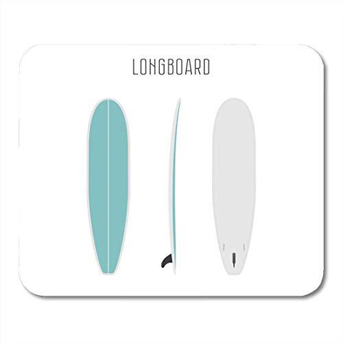 Mauspads Buntes Longboard Surf Long Board mit drei Seiten Leere Projektionen Surfbretttypen Abbildung Weiß Aktives Mauspad für Notebooks, Desktop-Computer Büromaterial