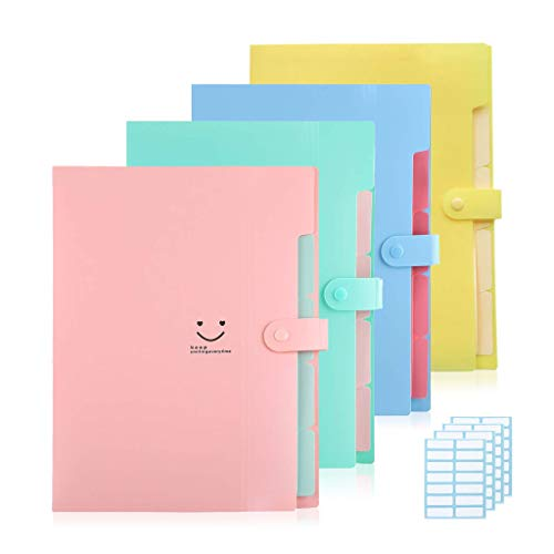 Zowella 4 Colored Expanding File Folders for A4 Letter Size, Plastic Accordion Snap Closure Paper Organizer with 5 Pockets, Smile Document Holder for Office School Travel, 4-Pack