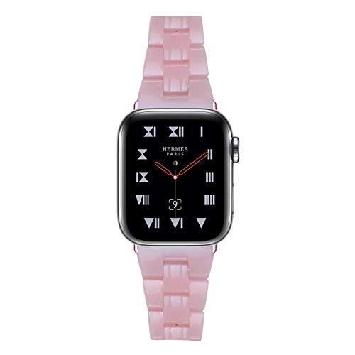 Fhony Correa Compatible con Apple Watch Band 38mm 40mm 42mm 44mm Correa de Repuesto de Pulsera de Resina Desmontaje Rápido Correa para Iwatch Series SE/6/5/4/3/2/1,Rosado,42/44mm