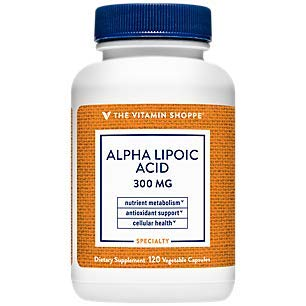 Alpha Lipoic Acid 300mg, Natural Antioxidant Formula to Support Glucose Metabolism Promotes Healthy Blood Sugar, ALA Fights Free Radicals, Gluten Dairy Free (120 Capsules) by The Vitamin Shoppe