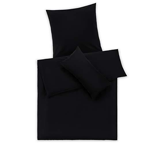 Blumtal Mako Satin Bettwäsche 135 x 200 cm mit Kissenbezug 80x80 cm - 100% Baumwolle, Superweiches Bettbezug Set, Black