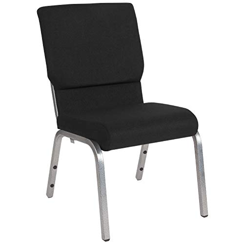 Price comparison product image Flash Furniture HERCULES Series 18.5''W Stacking Church Chair in Black Fabric - Silver Vein Frame