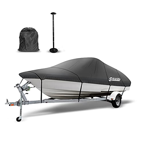 Shieldo Bass Boat Cover, 600D Boat Covers with Support Pole, 9 Boat Cover Straps with Buckles and Storage Bag, Fits V-Hull O/B and V-Hull I/O (Charcoal, 20-22' L Beam Width to 106')