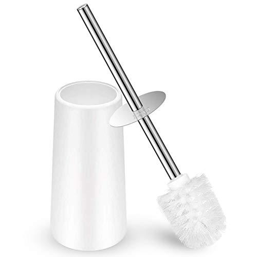 IXO Toilet Brush and Holder, Toilet Brush with 304 Stainless Steel Long Handle, Toilet Bowl Brush for Bathroom Toilet-Elegant-Cleaning-Bristles(White)