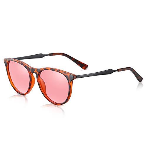kimorn Gafas De Sol Polarizadas Para Mujer Montura Metálica De Ojo De Gato Gafas Clásicas Unisex Para Exteriores K0816 (Carey)