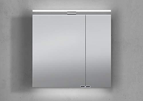 Intarbad ~ Spiegelschrank 60 cm mit LED Beleuchtung doppeltverspiegelt Weiß Hochglanz Lack IB5179