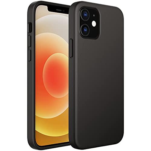 JETech Cover in Silicone Compatibile con iPhone 6,1 Pollici (12/12 Pro), Custodia Protettiva con Tutto Il Corpo Tocco Morbido setoso, Cover Antiurto con Fodera in Microfibra, Nero