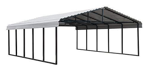 Arrow Shed 20' x 24' 29-Gauge Metal Carport with Steel Roof Panels, 20' x 24', Eggshell
