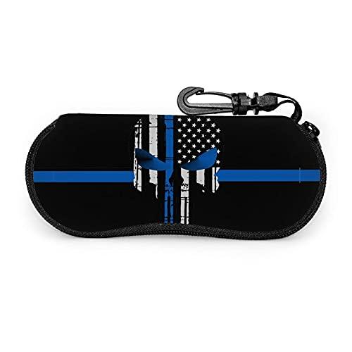 Nosotros bandera de la policía delgada línea azul gafas de sol, caso portátil de los vidrios de la cremallera del viaje