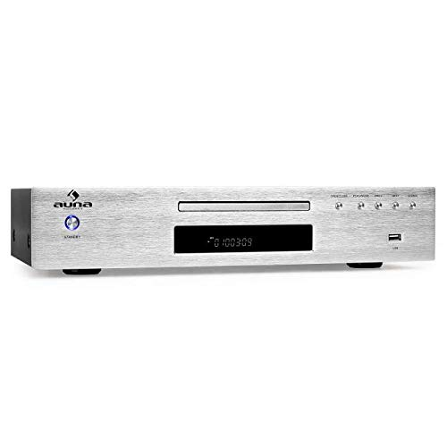 auna AV2-CD509 - Reproductor CD Alta fidelidad, Hi-Fi, Reproduce MP3, Entrada USB, Salida RCA, Control Remoto, Acero Inoxidable, Plateado
