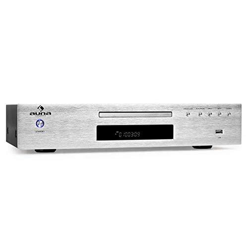 auna AV2-CD509 - Reproductor CD Alta fidelidad, Hi-Fi, Reproduce MP3, Sintonizador de Radio, Memoria hasta 40 Estaciones de Radio, Entrada USB, Salida RCA, Control Remoto, Acero Inoxidable, Plateado