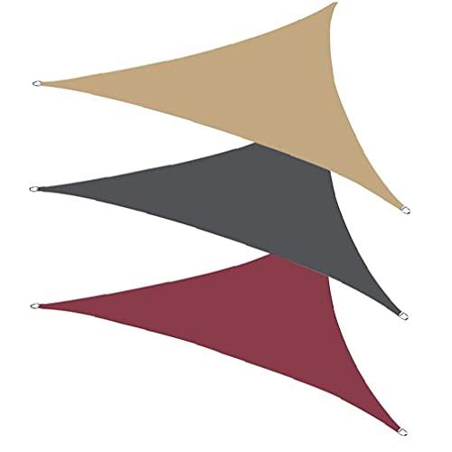 Parasol de Vela impermeable bloque UV Trigon poliéster capota parasol con la cuerda rojo oscuro, sol Toldo de Vela