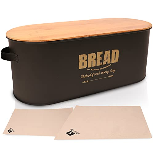 MoamiTHS Quality Bread Box - Metal Bread Box with Bamboo Lid - Bread Holder for Kitchen Countertop - Bread Storage Container with 2 Cloth Napkins - Vintage Kitchen Décor Organizer, Large Bread Box