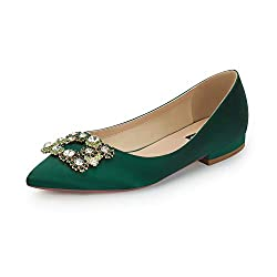 Comfort Flat Rhinestone Pointy Toe Slip On Green Shoes