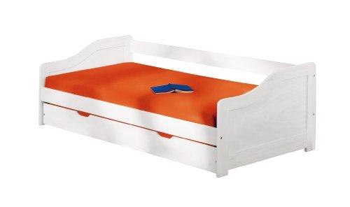 Inter Link Bett Funktionsbett Bed Kinderbett Kids Bett Einzelbett Bio Echt Holz Weiss lackiert BxHxT: 209 x 66 x 97 cm
